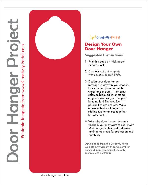 Door Hanger Templates Semi Custom Pre Designed