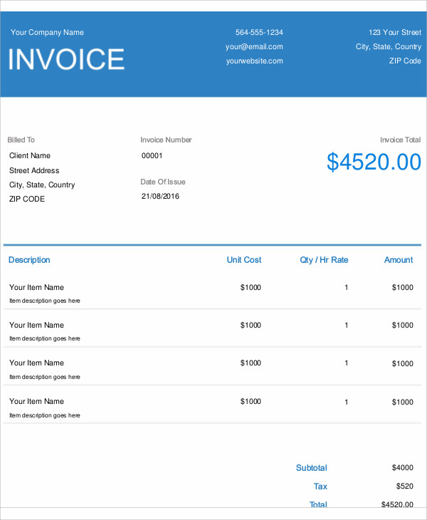 4+ Electrical Invoice Templates Free Sample, Example Format