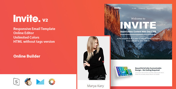 invite Responsive Email Template + Online Editor by Zay01