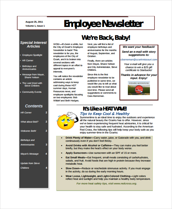 free employee newsletter articles free employee newsletter