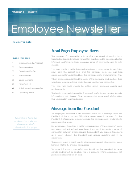 Employee newsletter
