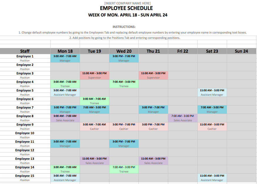 12 Steps to a Microsoft Excel Employee Shift Schedule | Hubworks