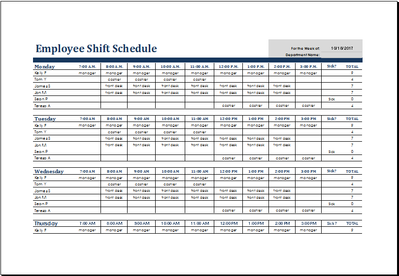 employee shift schedule template Melo.in tandem.co