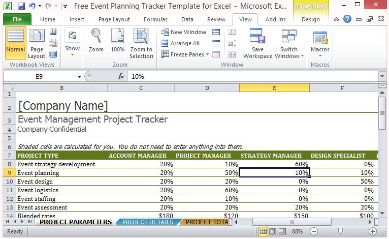 Free Event Planning Tracker Template For Excel