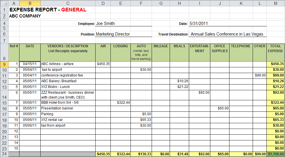 expense report spreadsheet template excel Melo.in tandem.co