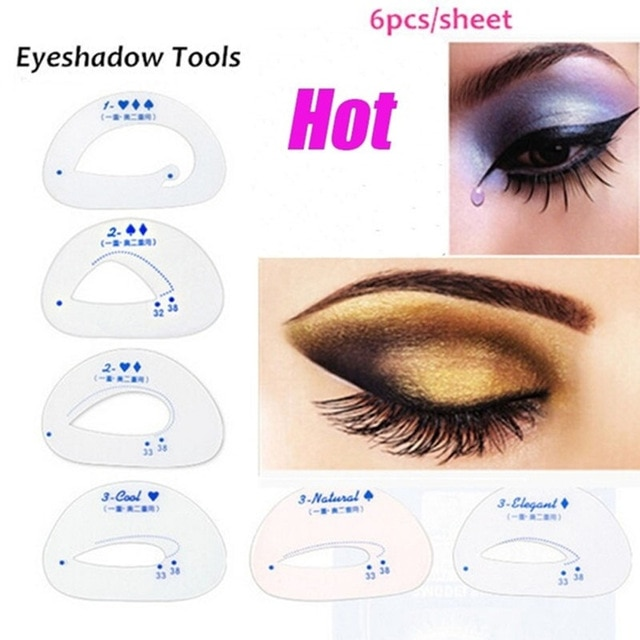 6pcs Eyeshadow Model Eyeliner Grooming Shaping Assistant Template
