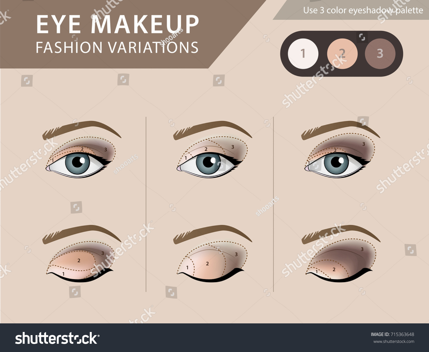Eye Makeup Tutorial Eyeshadow Vector Template Stock Vector