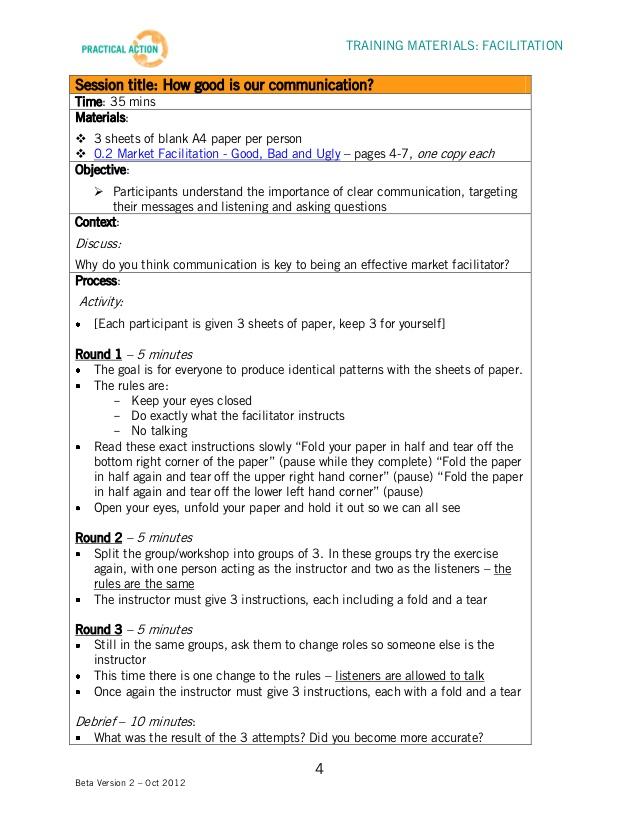 Facilitation Training Materials Facilitator Guide