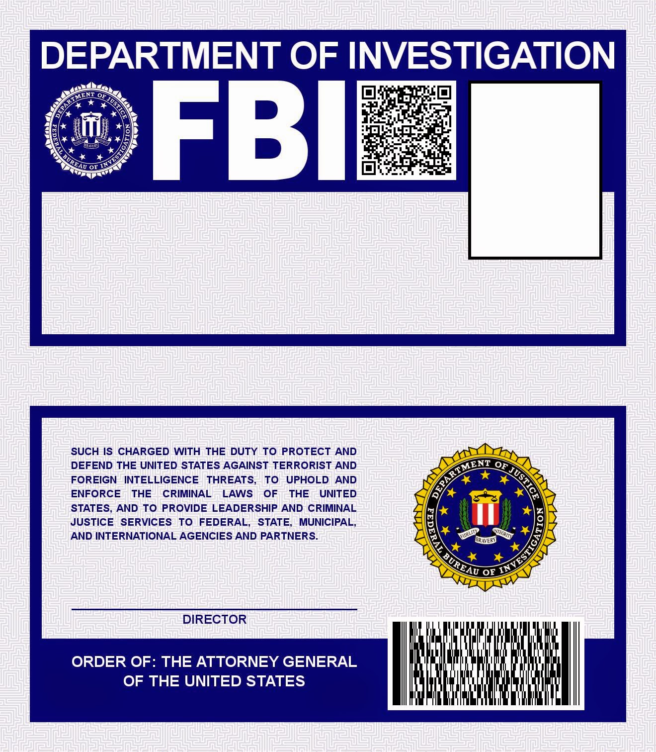 FBI ID template FBI Identification Card X Files prop | X Files