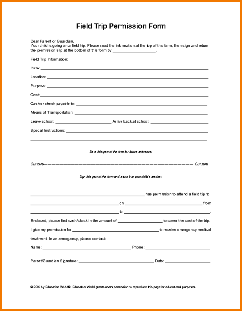 field trip form template field trip form template authorization
