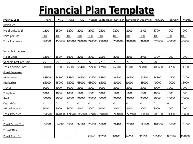 8+ Financial Plan Templates Excel Excel Templates