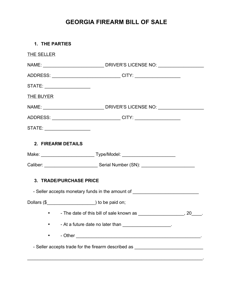 Bill Of Sale Form Georgia Firearm Bill Of Sale Templates