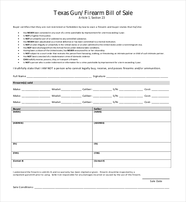 10+ Sample Bill of Sale for Firearms | Sample Forms
