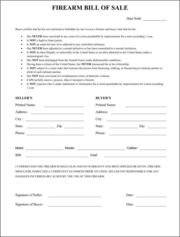 Free Florida Firearm Bill of Sale Form | PDF | DOCX