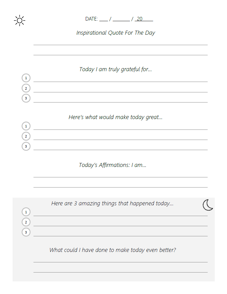 Adapted Five Minute Journal Template (PDF) – Beautiful Life Apps