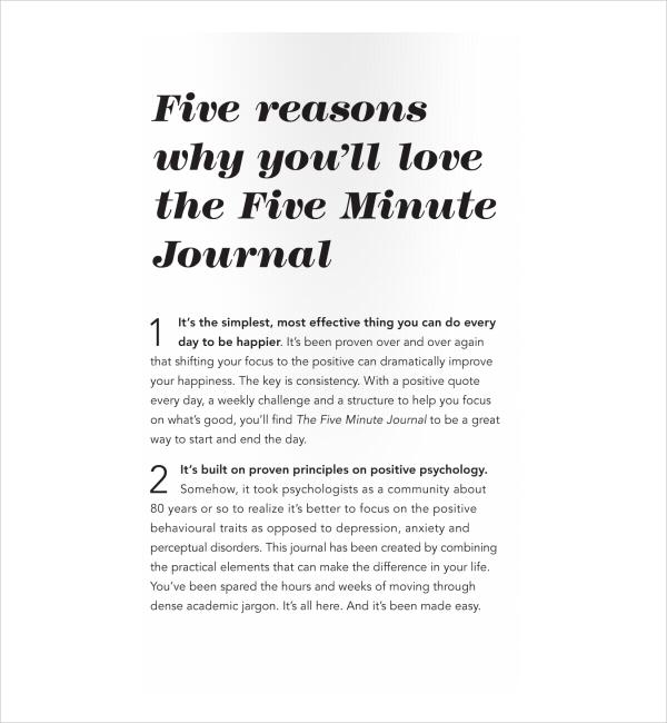 2+ Five Minute Journal Templates PDF | Free & Premium Templates