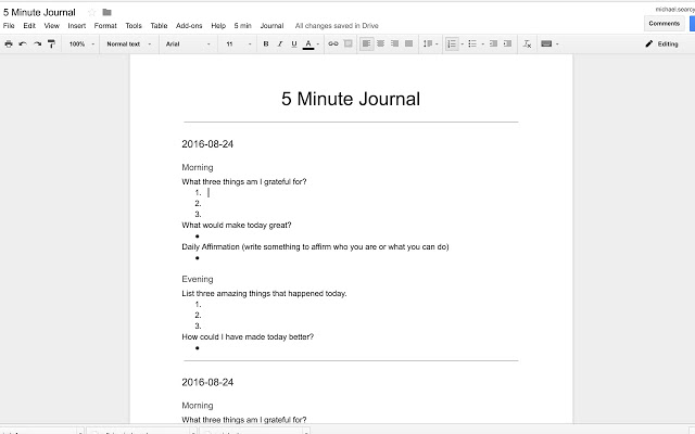 5 minute journal template Google Docs add on