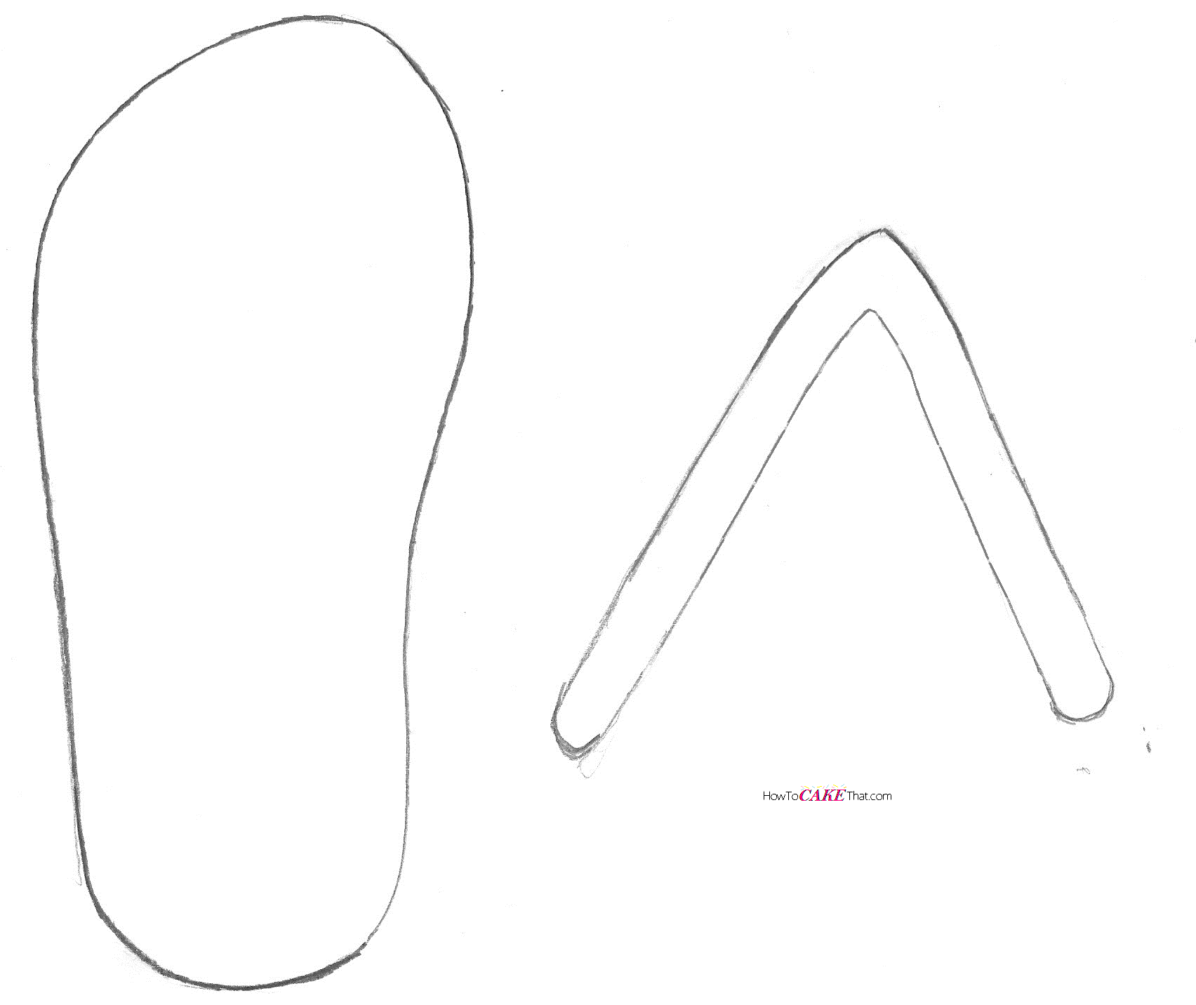Flip flop pattern. Use the printable outline for crafts, creating