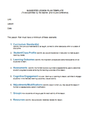 lesson plan template for formal observation freeport teachers