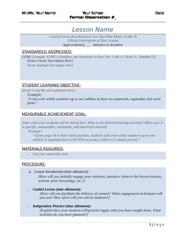 Easy Peasy Formal Lesson Plan Template by The Wandering Wonder   TpT