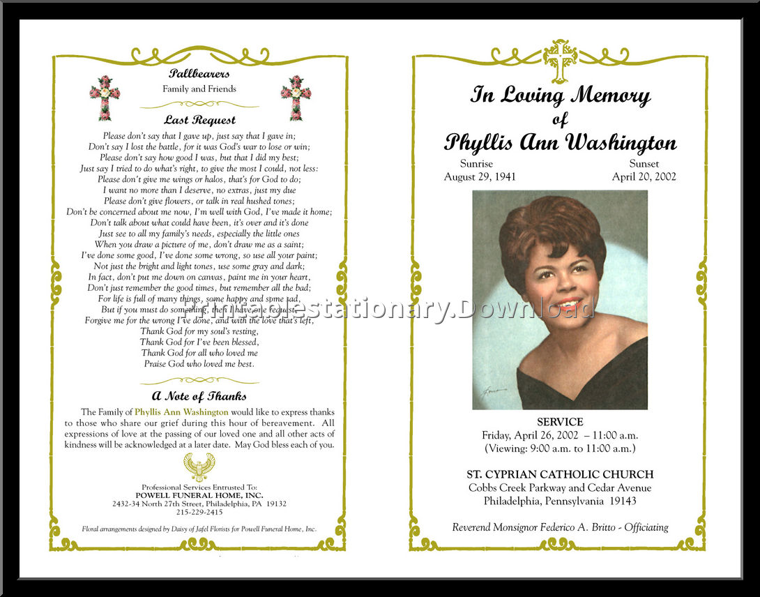Free and Editable Funeral Programs
