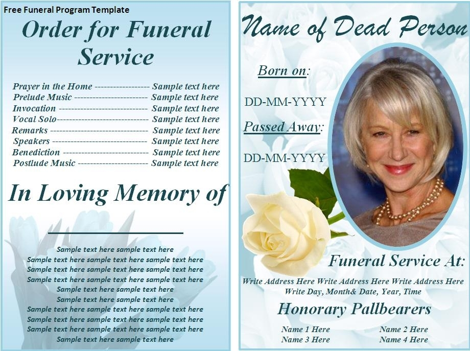 Free Funeral Program Template Word Free Funeral Program Templates
