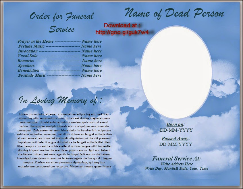 free obituary template for microsoft word download free funeral