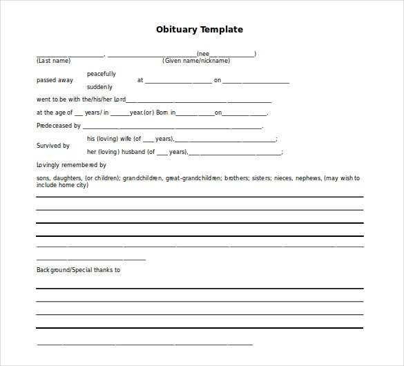 10+ Microsoft Word Obituary Templates Free Download | Free