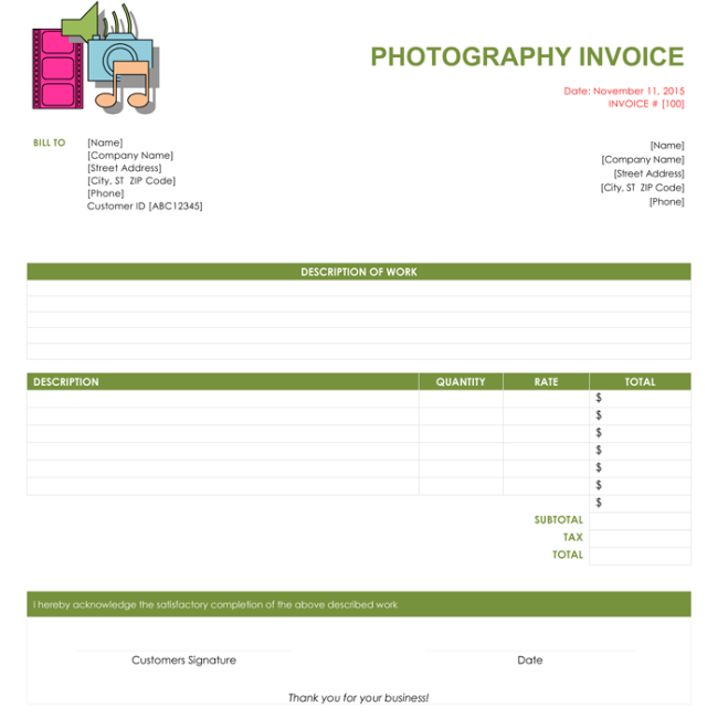 5 Photography Invoice Templates To Make Quick Invoices Free