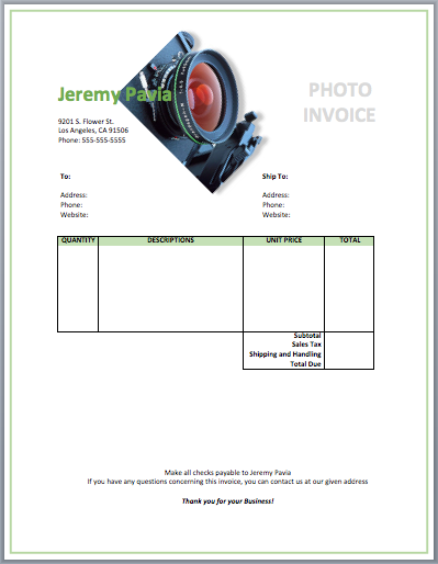 Photography Invoice Template Free Invoice Templates Photography