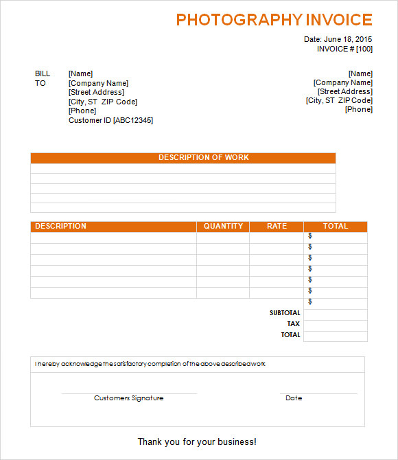 8+ Photography Invoice Samples, Examples, Templates | Sample Templates
