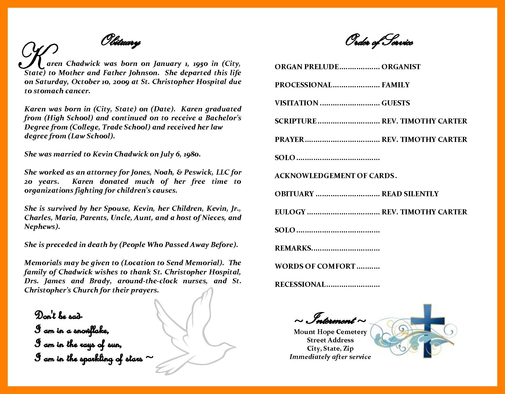 free printable obituary template East.keywesthideaways.co