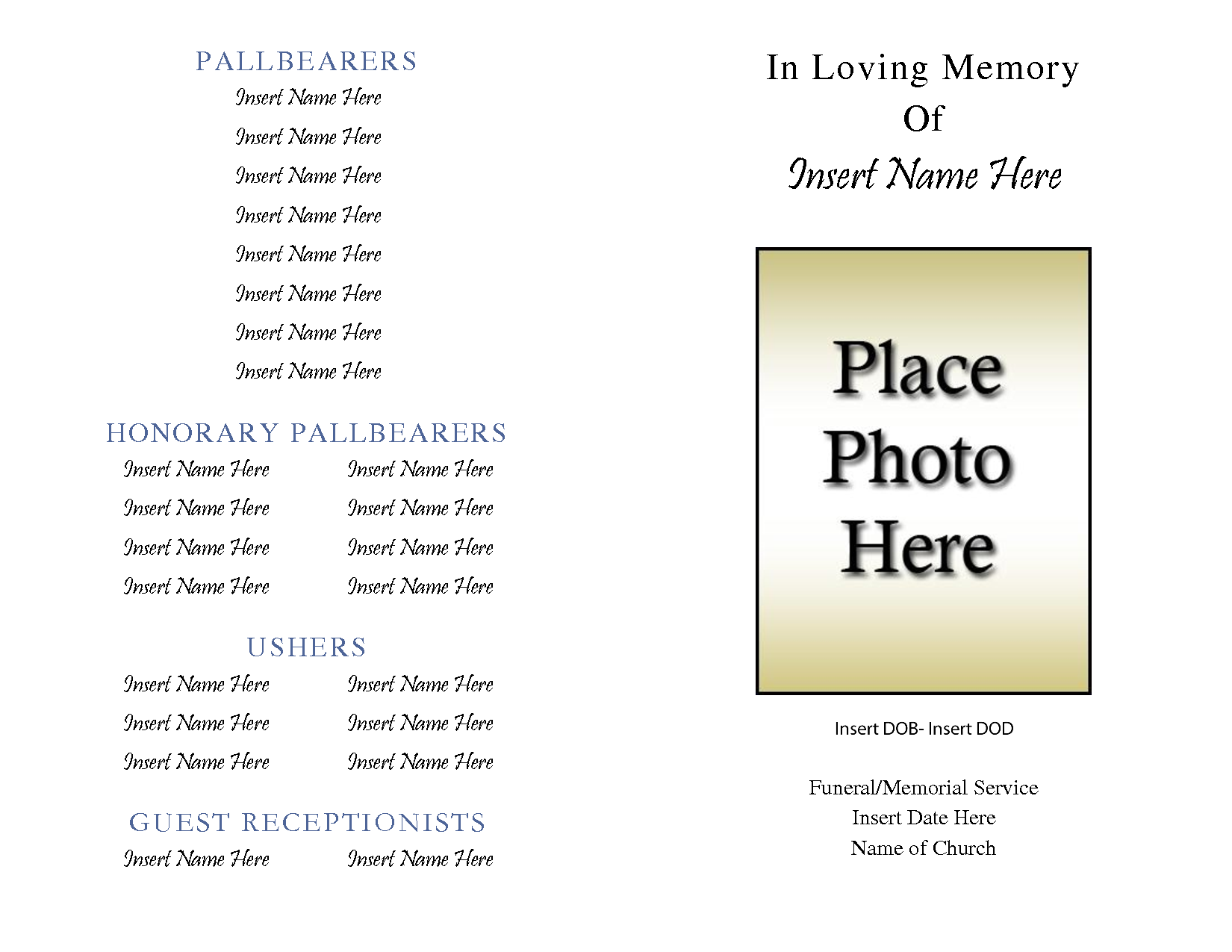 Awesome Collection for Free Printable Obituary Templates Of