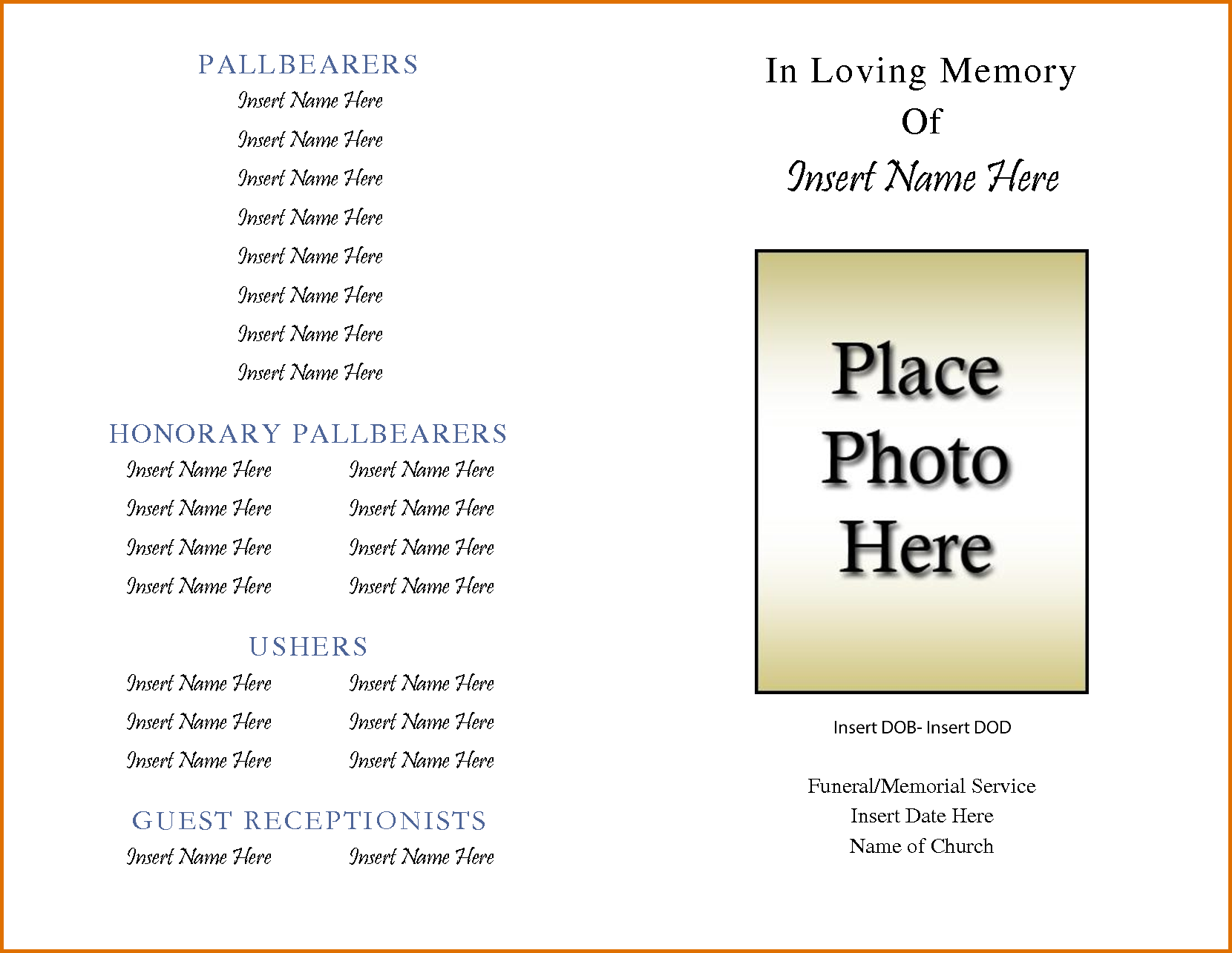image relating to In Loving Memory Free Printable named Absolutely free Printable Obituary Template