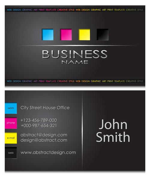 Modern business cards front and back template vector 05 free download
