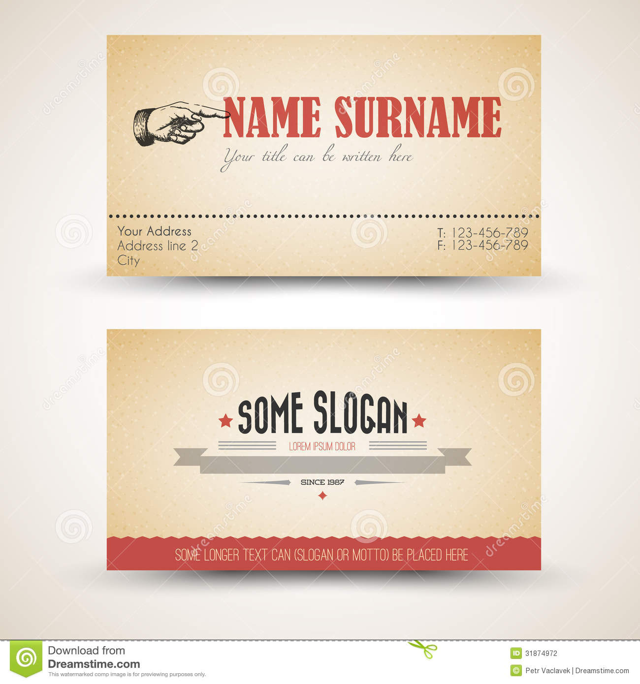 Vector Old style Retro Vintage Business Card Template Stock Vector