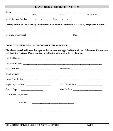 Employment Verification Form Template 5+ Free PDF Documents