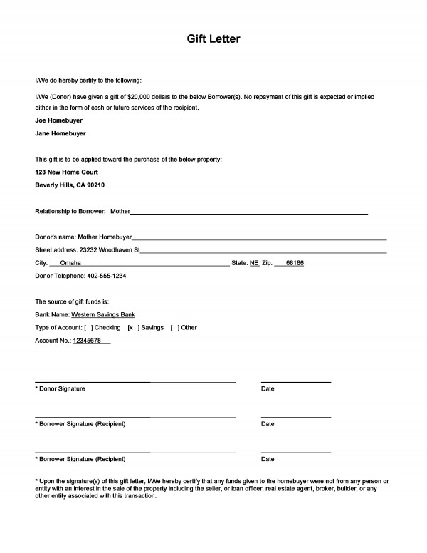 Gift Letter For Mortgage Down Payment Pdf   aboutplanning.org