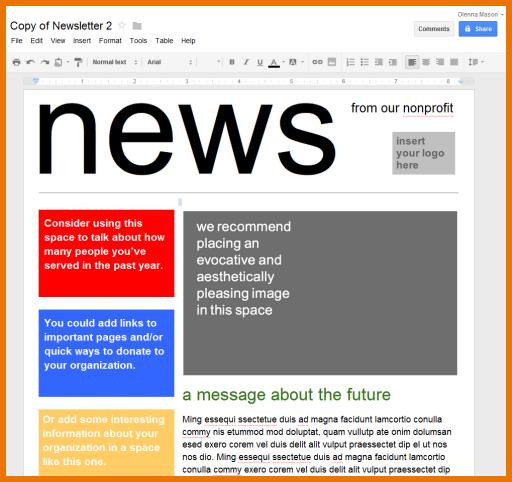 Google Docs Newsletter Template | Template Design inside
