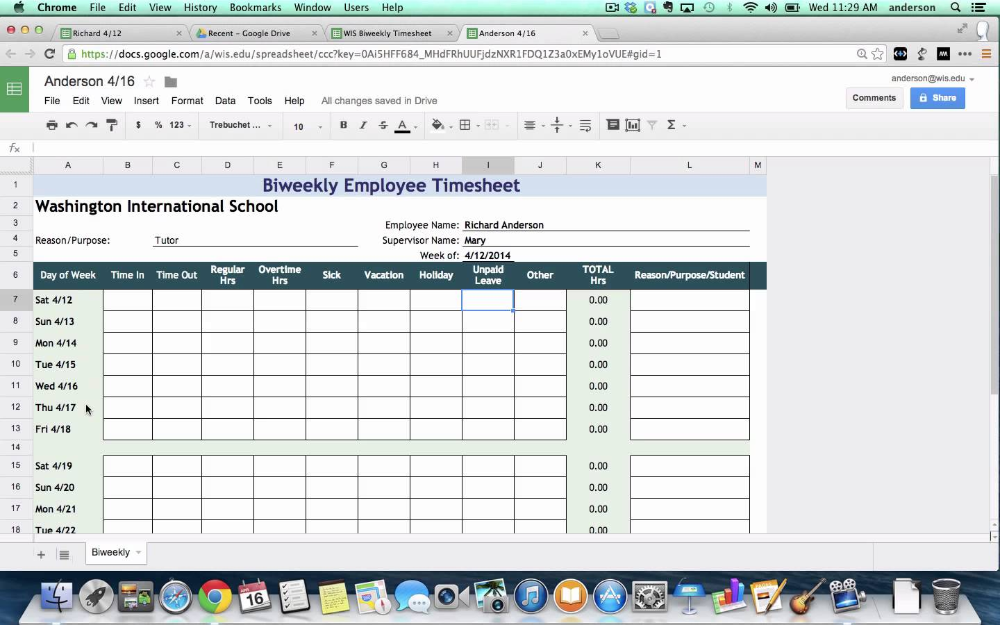google sheet timesheet template Melo.in tandem.co