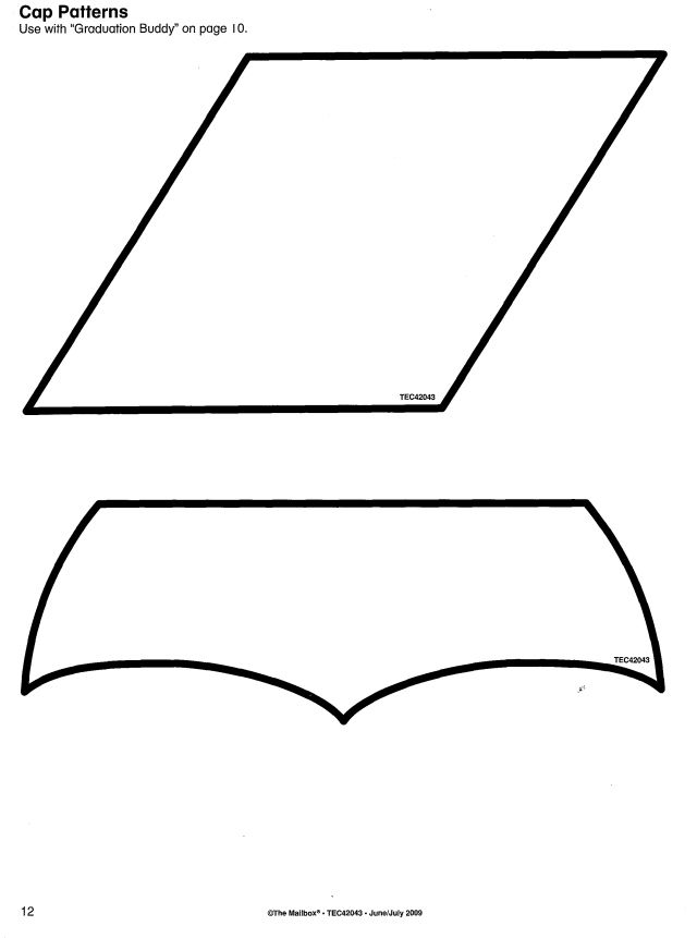 Graduation cap pattern. Use the printable outline for crafts