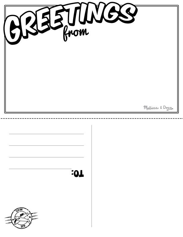 greetings from postcard template postcard template for children