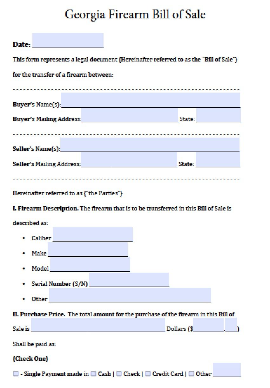Free Georgia Firearm/Gun Bill of Sale Form | PDF | Word (.doc)