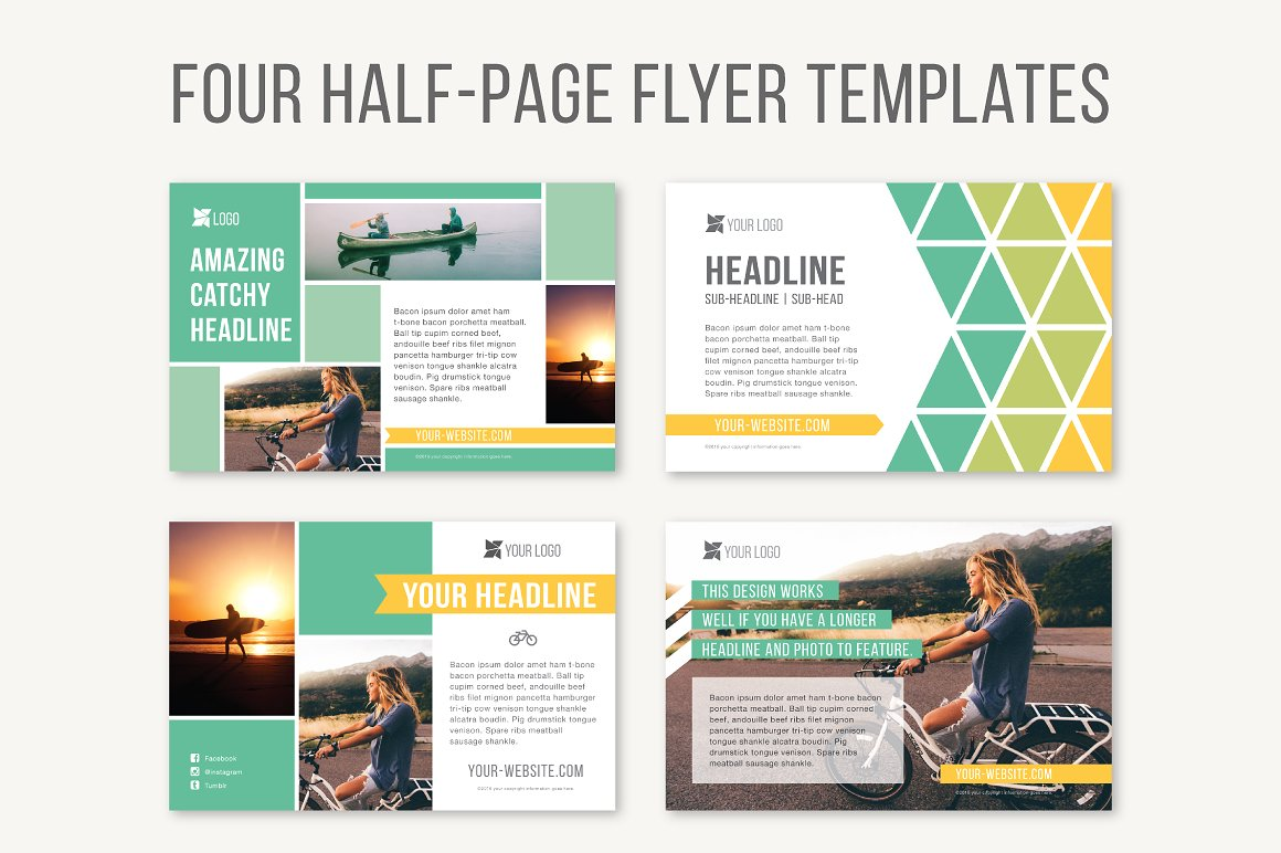 Four Half Page Flyer Templates Templates Creative Market High