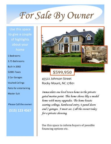 For Sale by Owner Free Flyer Template by Hloom.| Givens rd