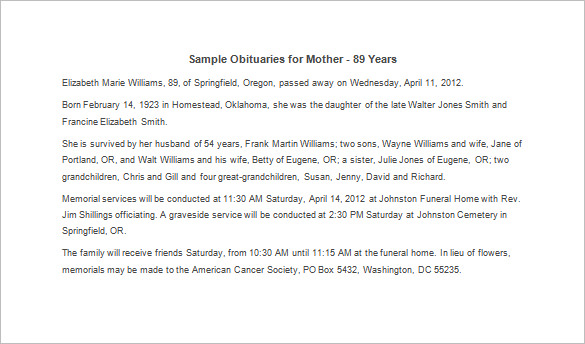 how to write an obituary for a