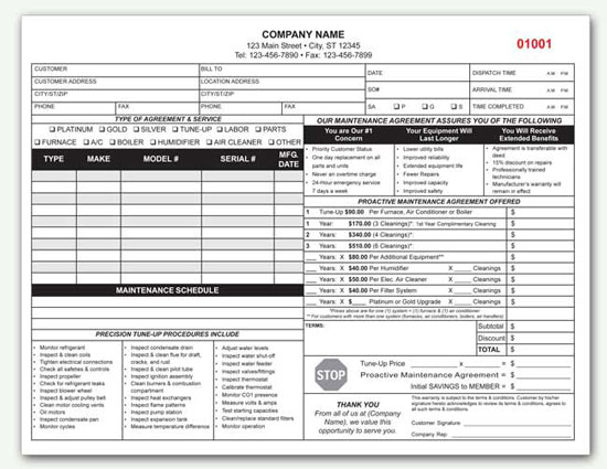 custom order agreement template hvac service agreement template