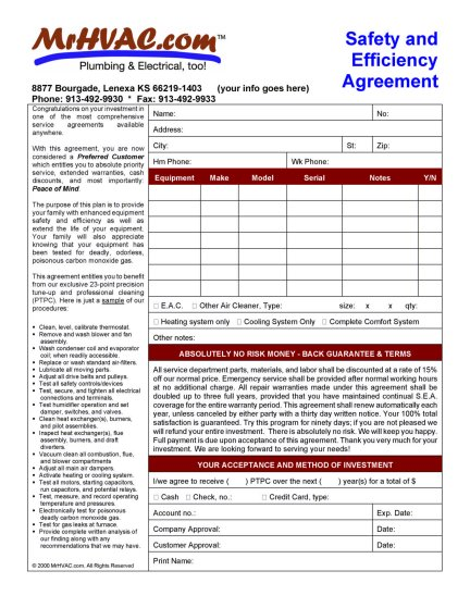 Service & Maintenance Agreements for HVAC | Mr. HVAC Software and