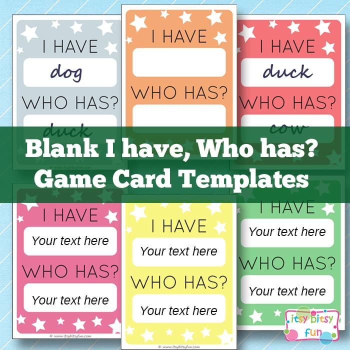 I have Who Has Template Learning Games for Kids Itsy Bitsy Fun
