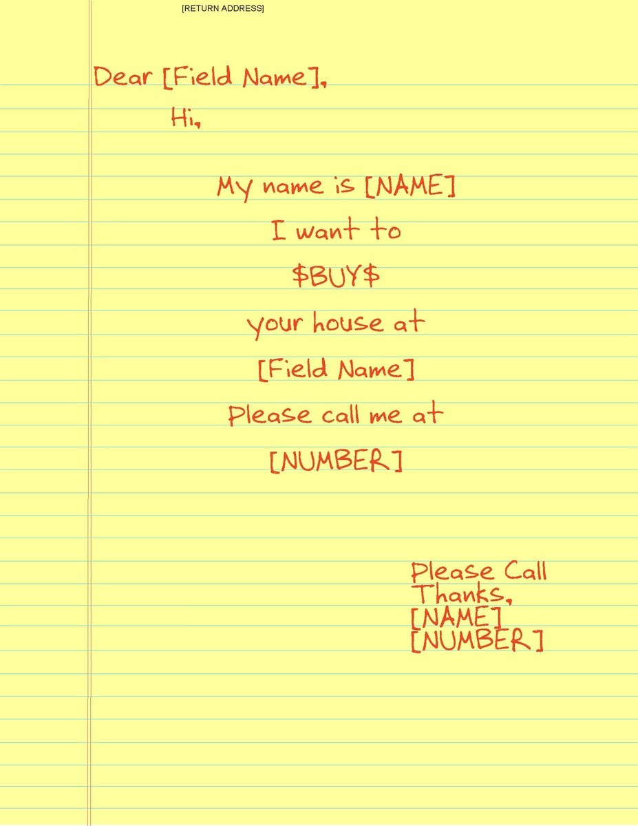 I Want to Buy Your House Letter Template I Want to Buy Your House